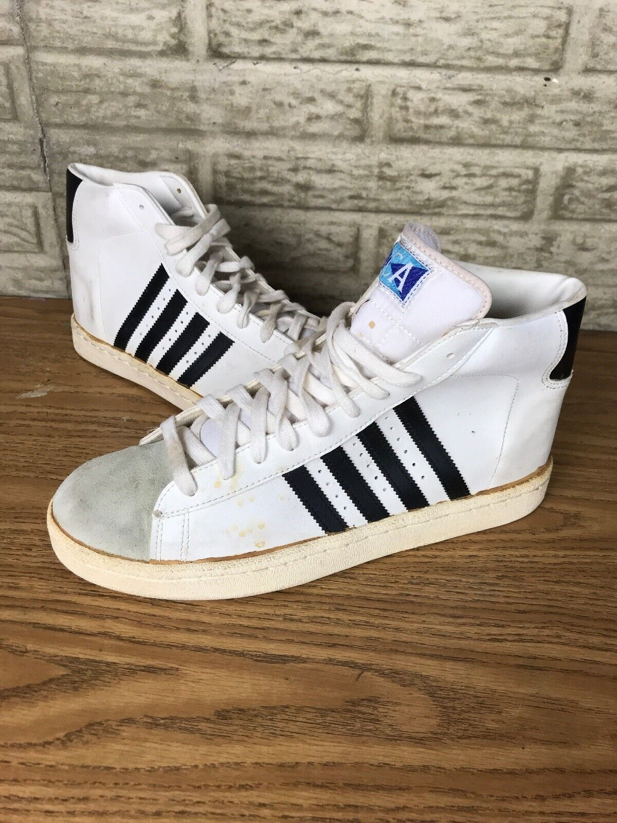 Vintage 80s Made In Korea High Top shoes White NCA Cheerleading Mens Sz 12