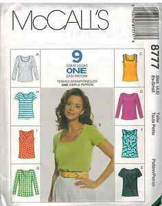 8777-UNCUT-McCalls-SEWING-Pattern-Misses-Slim-Fitting-Tops-9-Great-Looks-EASY-FF