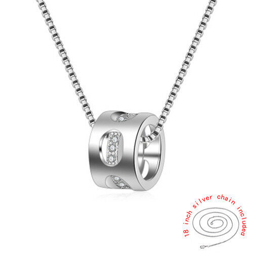 Korean Style Distinctive Hollow 925 Silver Zircon Crystal Necklace Jewelry DZ87