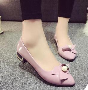 0ced2ba08 New Women Sandals Low heel Pointy toe PU Leather Bowknot Casual Date ...