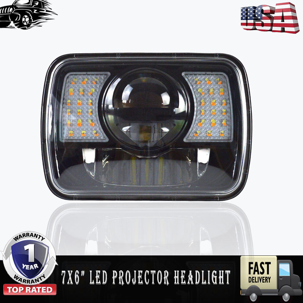 1x Led Projector Headlight 7x6 Sealed Beam Black Dot 1992 Toyota 4runner Lights Cree Approved