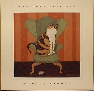 art-print-CLAIRE-the-calico-cat-on-chair-Warren-Kimble-folk-primitive-14x14