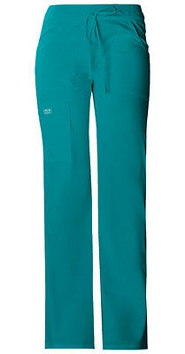Teal Cherokee Workwear Core Stretch Drawstring Cargo Scrub Pants 24001 TLBW