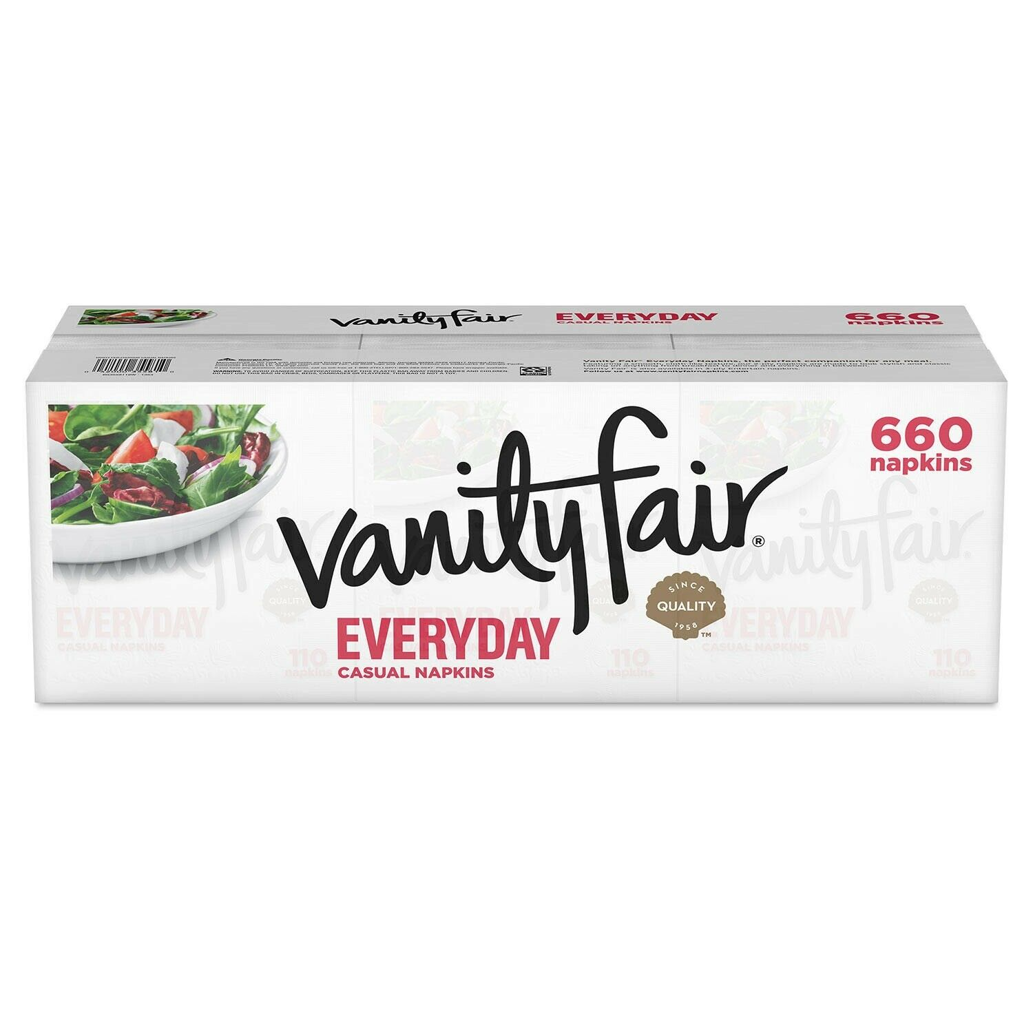 300 Total Napkins, Great For Holidays and Parties 75 count Pack of 4 Vanity Fair Everyday Casual Paper Napkins A Printed Dispenser For Decoration