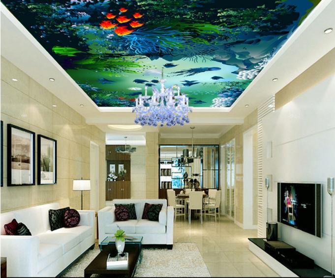 3D Jellyfish Coral 8 Ceiling WallPaper Murals Wall Print Decal Deco AJ WALLPAPER