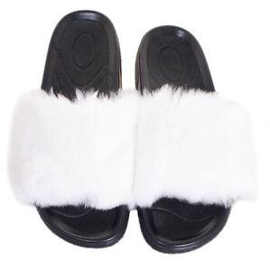 Wei Fell Latschen NEU Pelz Pantoffeln mit Kaninchen Fell Schlappen Sandalen