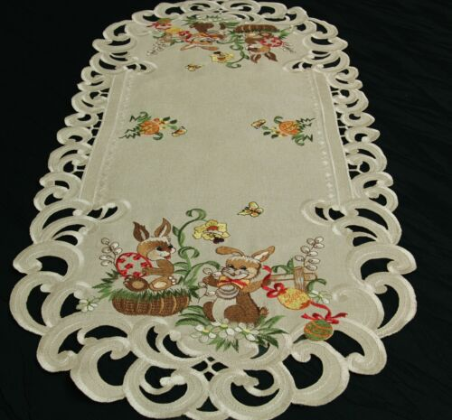 Easter Table runner Doily Tablecloth Linen-look Beige Natur Bunny Embroidery NEW