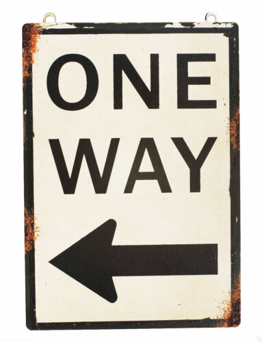 One Way Metal Antique Rustic Sign With Left Arrow Designed Street Road Vintage