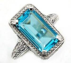 10CT-Aquamarine-925-Solid-Sterling-Silver-Nouveau-Style-Ring-Jewelry-Sz-8-PR39