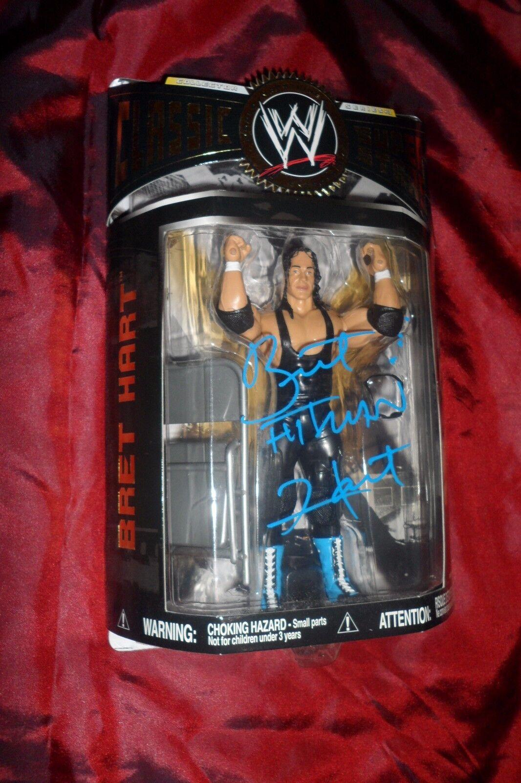 WWE Bret Hituomo Hart Hart Hart Autographed   Signed classeic Superestrellas Series 13 Jakks WCW 6255f1