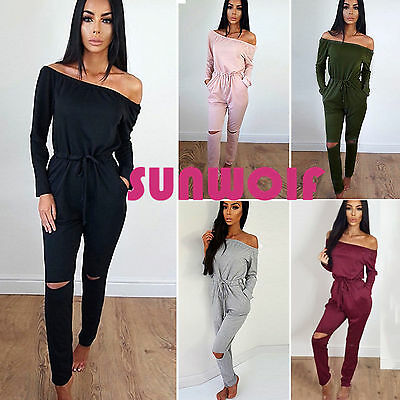 UK Women Holiday Off The Shoulder Playsuit Ladies Jumpsuit Summer Beach Clubwear