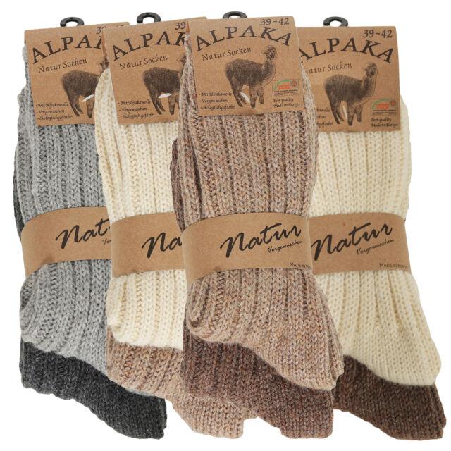 Damen Wollsocken warme Plüsch Wintersocken Kuschelsocken mit Umschlag gestrickt