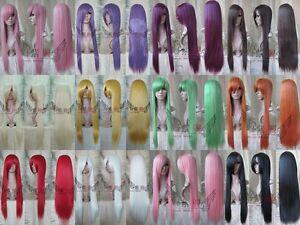 Party-Fancy-Cosplay-Dress-Women-New-Blonde-Straight-Bangs-Hair-Full-Wig-Long-Wig