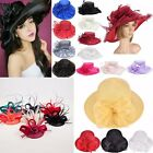 New Women Dress Church Wedding Kentucky Derby Wide Brim Feather Sun Floppy Hat