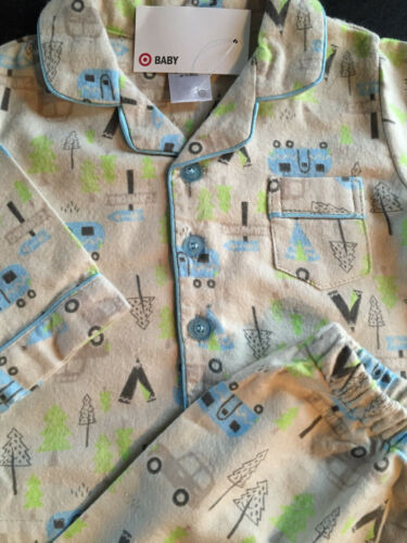 BNWT Baby Boys Sz 00 Camping Print Long Style Flannel Winter Style PJ Pyjamas