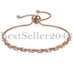 Damen-Charm-Kristall-CZ-Rose-Gold-vergoldet-Kette-Armband-Bar-einstellbar