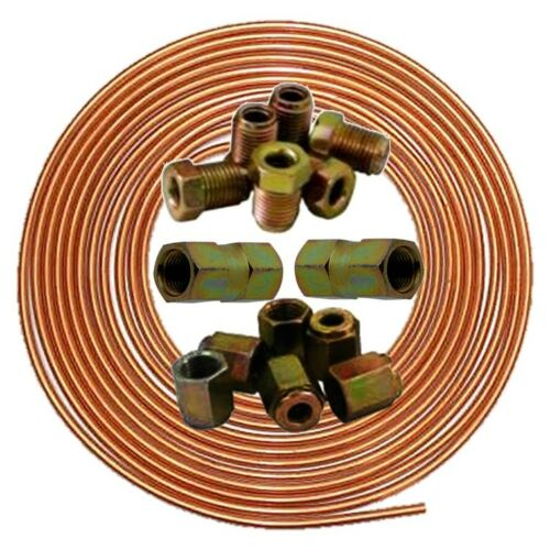 """Brake Pipe 3//16/"""" Copper Line 7.6m Joiner Male Female 10mm Union Nuts Ends Tubing"""