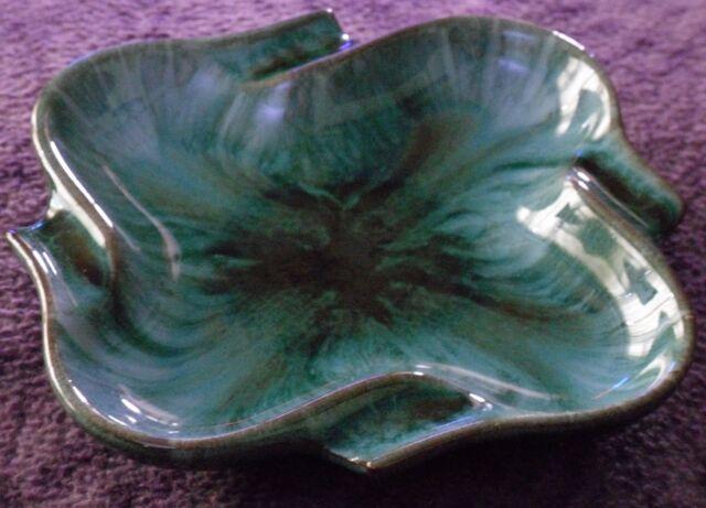 BMP Blue Mountain Pottery Canada Traditional Green Drip Glaze Square Ashtray