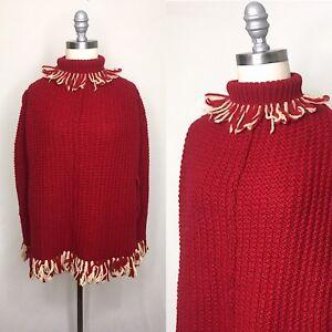 Vintage-60s-Knit-Turtleneck-Poncho-Small