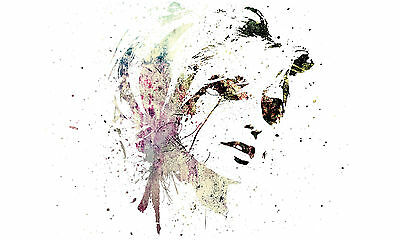 A3 Poster – Colourful Abstract Beautiful Woman's Face (Picture Print Human Art)