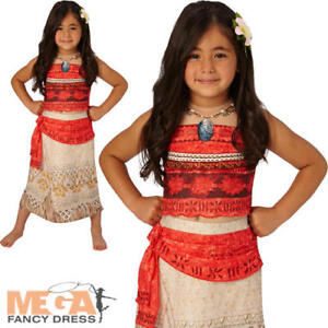 Image is loading Deluxe-Moana-Girls-Fancy-Dress-Hawaiian-Disney-Princess-  sc 1 st  eBay & Deluxe Moana Girls Fancy Dress Hawaiian Disney Princess Book Day ...