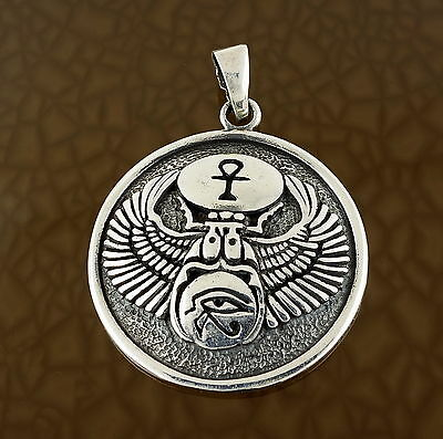 Scarab Eye of Horas Ankh Pendant in Solid Sterling Silver - Egyptian Lucky Charm