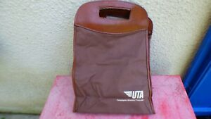 Details about travel bag UTA canvas brown and pu leather vintage