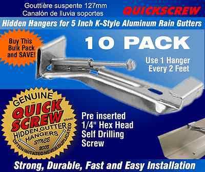 25 Per Package Quick Screw 6 inch Aluminum Hidden Rain Gutter Bracket Hook clip style Hangers with pre inserted 3 long /¼ hex head self drilling screw