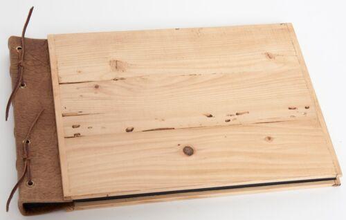 Gästebuch oder Fotoalbum Holz mit Leder sehr edel Handarbeit Nr.7 Seiten schwarz