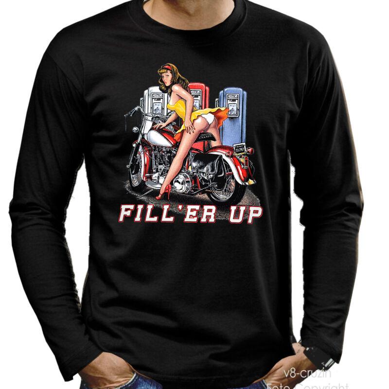 * Pinup Biker Vintage-oldtimer-bike T-shirt *4201 Ls