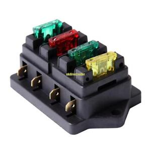4-Way-Fuse-Blade-Holder-Box-Block-Black-Car-Vehicle-Automotive-Circuit-w-Fuse