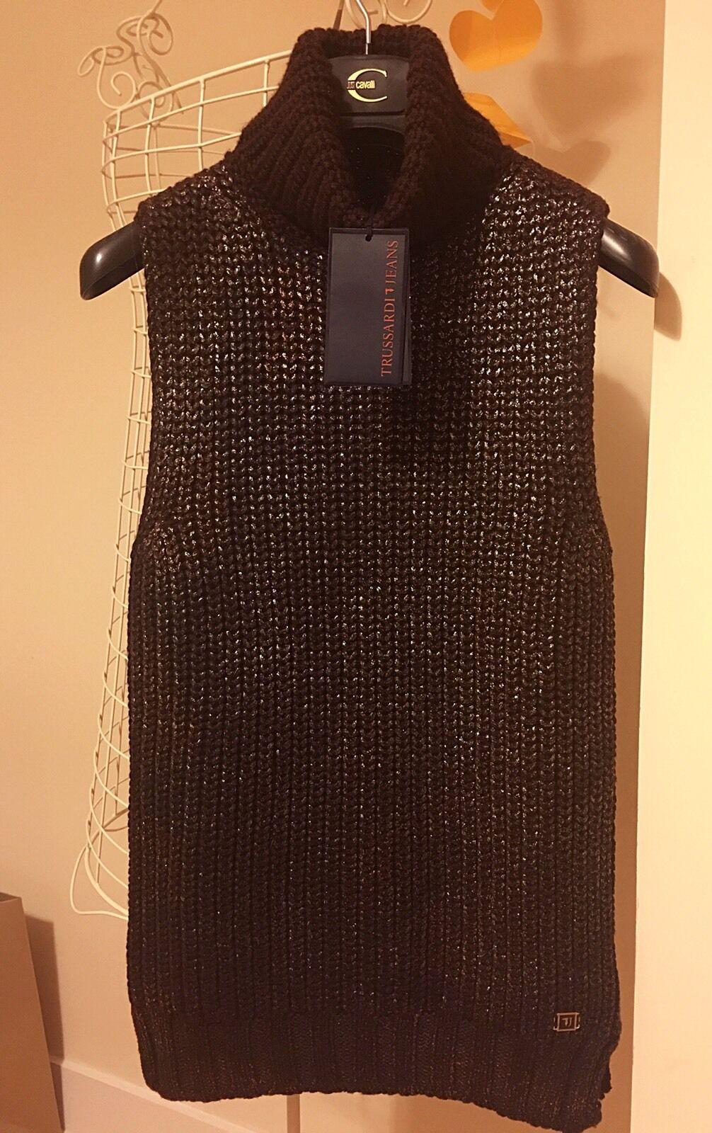 New Trussardi sleeveless chocolate brown sweater cardigan S XS