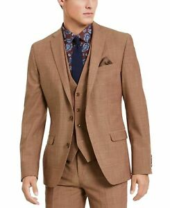 Bar III Mens Blazer Brown Size 36 Short Two Button Slim Fit Wool $425 319