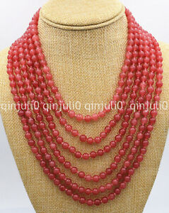 Genuine-natural-6-rows-Charming-6mm-red-ruby-beads-necklace-17-22-inches