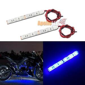 2pcs blue 6 5050 smd led strip lights motorcycle body under glow image is loading 2pcs blue 6 5050 smd led strip lights aloadofball Choice Image