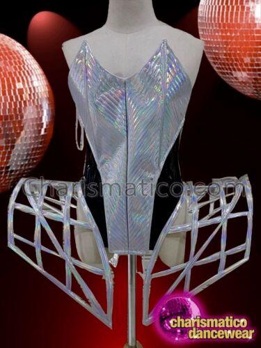 CHARISMATICO Silver striking appealing unique gaga hip corset and futuristic top