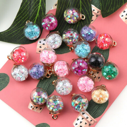 8Pcs DIY Jewelry Making Accessories Lovely Star Glass Ball Beads Pendan