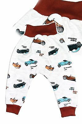 NEW Baby Boy Extra Comfy Pants 00 0 1 2  Quality Cotton Retro Cars Made in EU