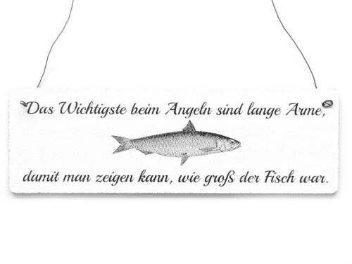 Shabby Vintage Schild Dekoschild Türschild DAS WICHTIGSTE BEIM ANGELN Angler