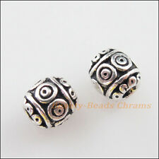 15Pcs Tibetan Silver Tone Flower Round Ball Spacer Beads Charms 6mm