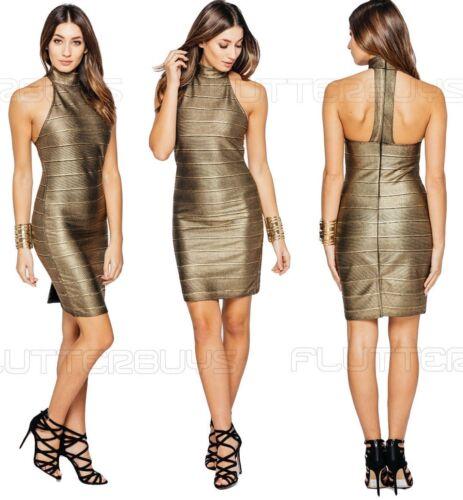 Femme Bodycon Midi robe or Noir Côtelé Fête Métallique Ajustée Taille UK