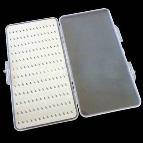 Slim Clear Easy Grip Foam Plastic Fly Fishing Box Holds Case 168 Flies Hold A5R1