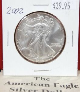 2002-Silver-American-Eagle-BU-1-oz-Coin-US-1-Dollar-Mint-Uncirculated-Brilliant