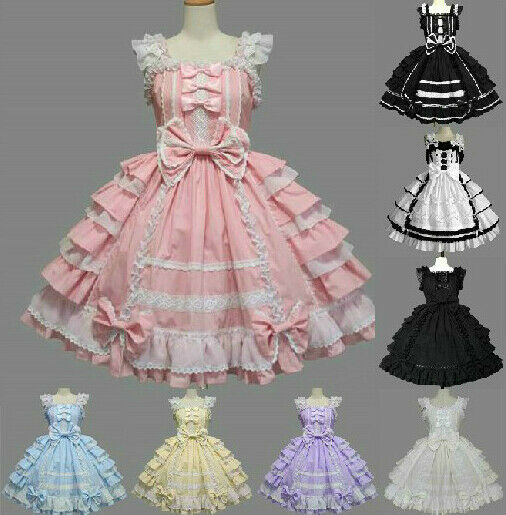 Ladies Sweet Cotton Lace Chiffon Layered Cosplay Lolita Dress Costume 7 Colors