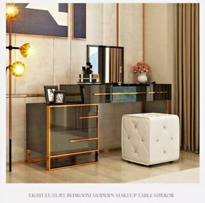 Details zu Luxury Bedroom Modern Make Up Table With Mirror & Stool