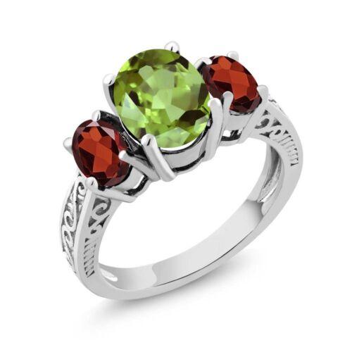 2.45 Ct Oval Green Peridot /& Red Garnet 925 Sterling Silver 3-Stone Women/'s Ring