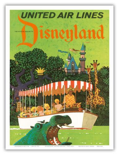 Disneyland California Jungle Hippo United Air Stan Galli Vintage Poster Print
