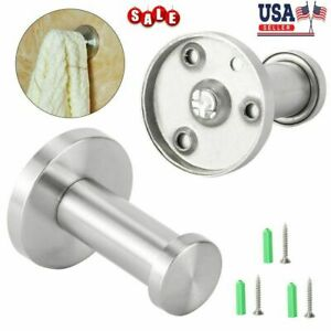 1//4pcs Brushed Stainless Steel Wall Hooks Wall Mount Coat Towel Hanger Bathroom