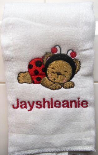 Ladybug Bear sleeping embroidered burp cloth Personalized
