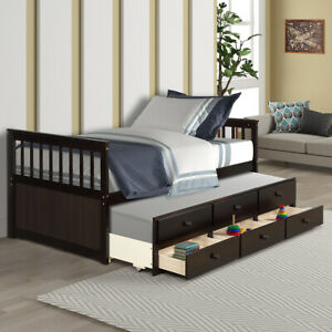Captain-039-s-Bed-Twin-Size-Wood-Bed-Frame-Daybed-with-Trundle-Bed-3-Storage-Drawers
